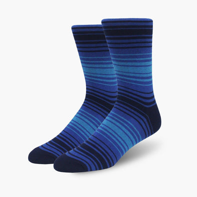 Blue Multi-Striped Combed Cotton Crew Length Swanky Socks - SwankySocks