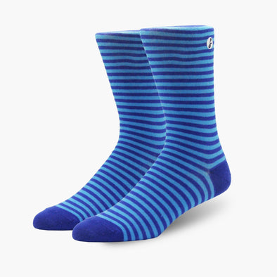 Blue Stripe Combed Cotton Crew Length Swanky Socks - SwankySocks