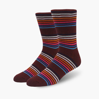 Burgundy Multi-Striped Combed Cotton Crew Length Swanky Socks - SwankySocks