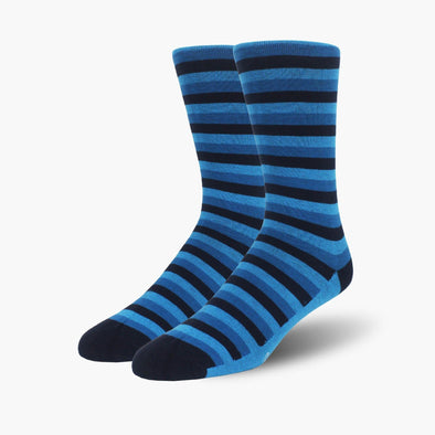 Navy Stripe Organic Cotton Crew Length Swanky Socks