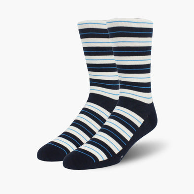 Blue Striped Combed Cotton Crew Length Swanky Socks