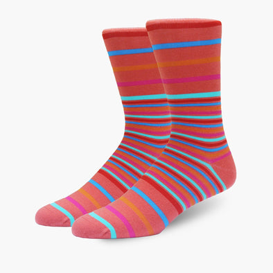 Coral Multi Stripe Merino Wool Dress Swanky Socks
