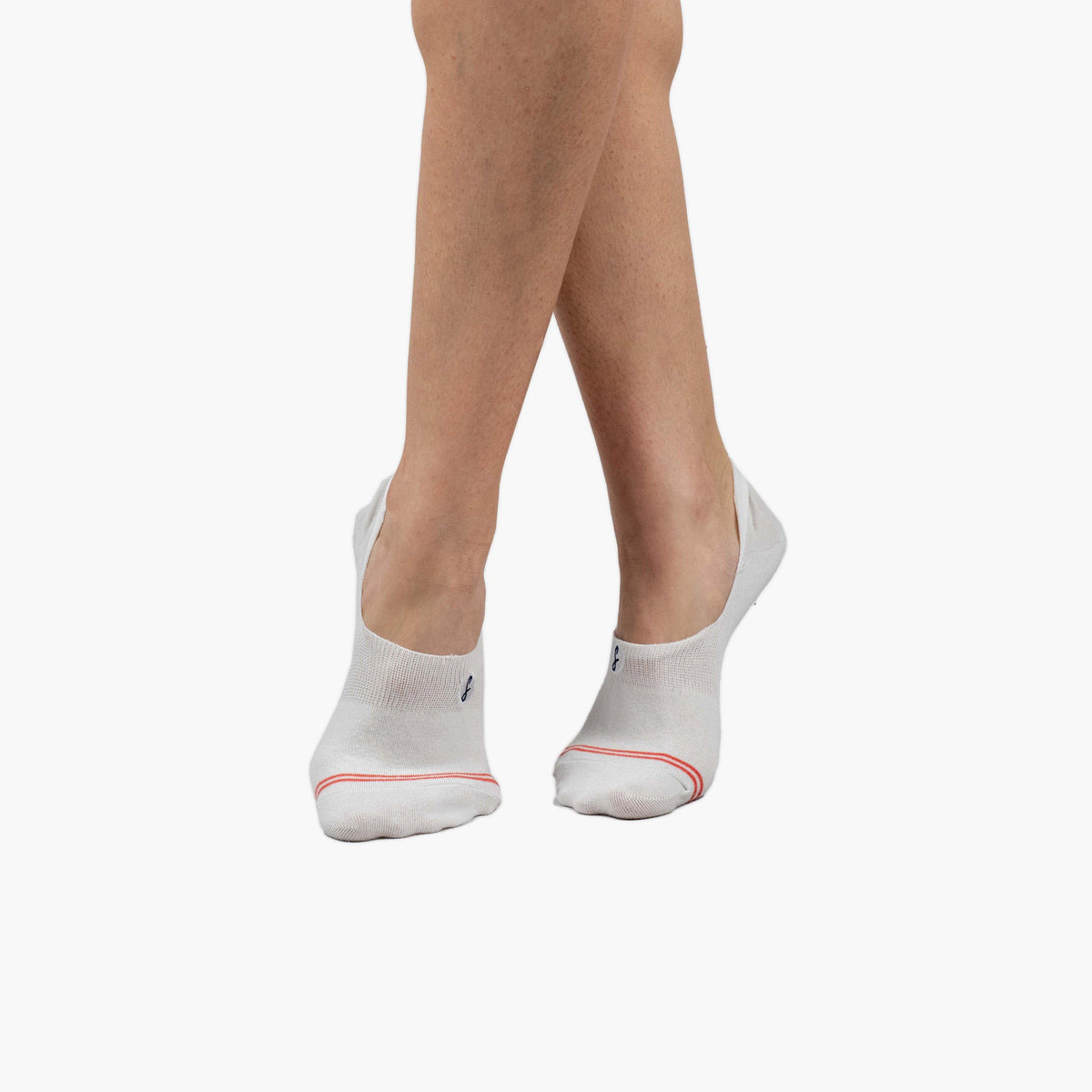 Plain Off-White Coral Striped Combed Cotton No-Show Swanky Socks - SwankySocks
