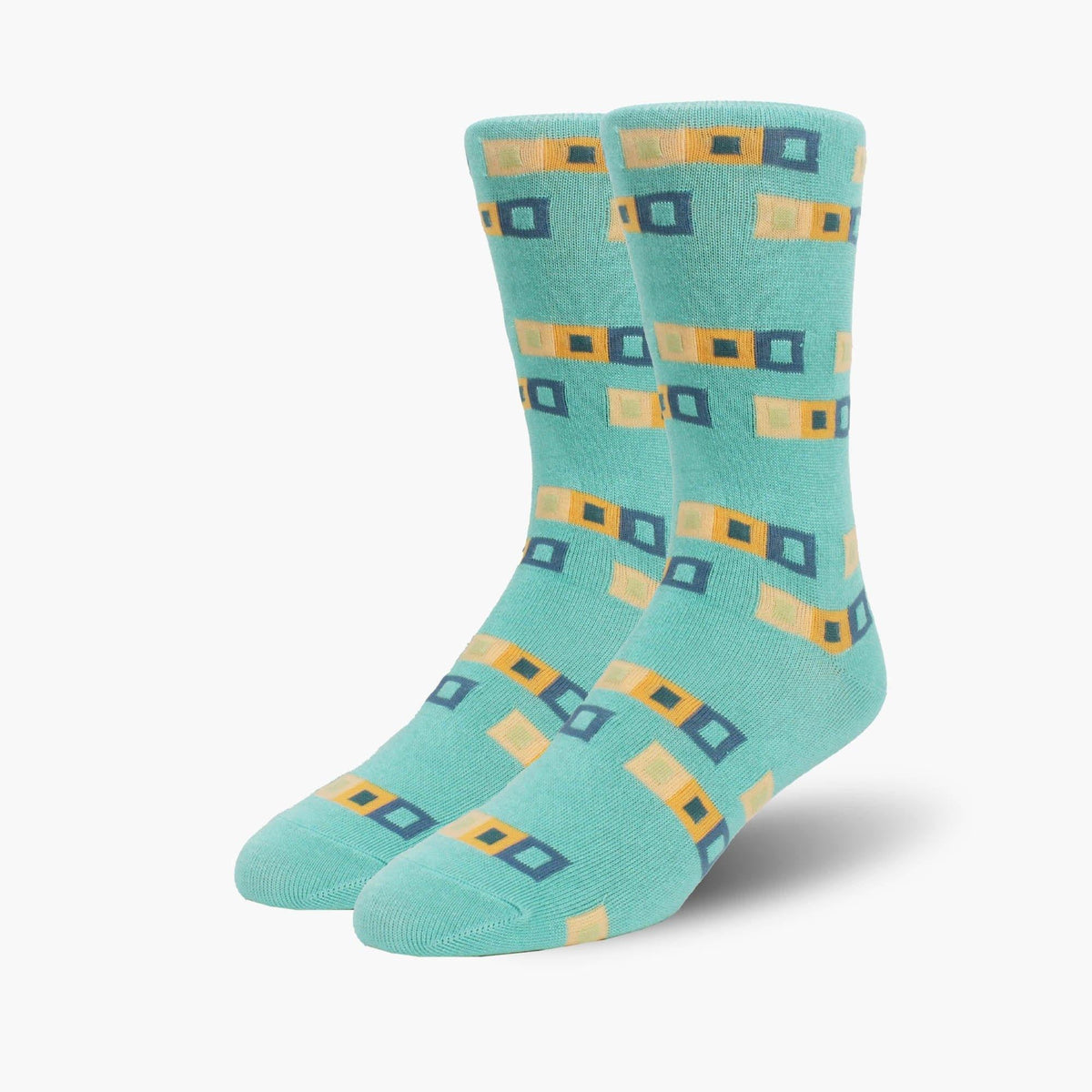 Aqua Mixed Squares Bamboo Crew Length Swanky Socks - SwankySocks