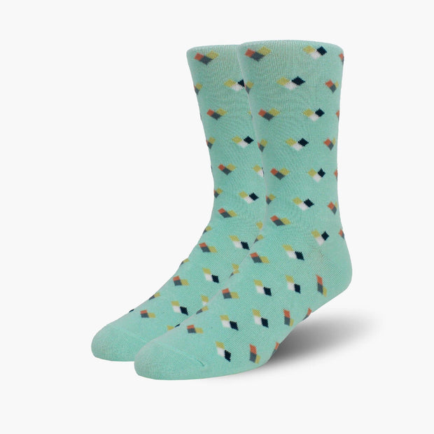 Mint Fractional Chex Bamboo Crew Length Swanky Socks