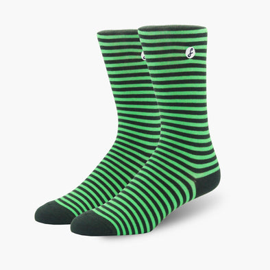 Green Stripe Combed Cotton Crew Length Swanky Socks