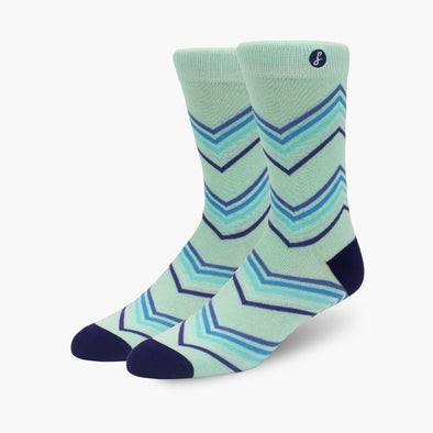 Lime Zig Zag Stripe Bamboo Crew Length Swanky Socks
