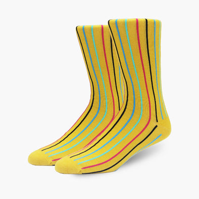 Mustard Yellow Vertical Stripe Merino Wool Dress Swanky Socks
