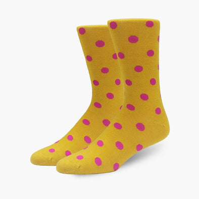 Mustard Yellow & Pink Polka Dot Merino Wool Dress Swanky Socks - SwankySocks