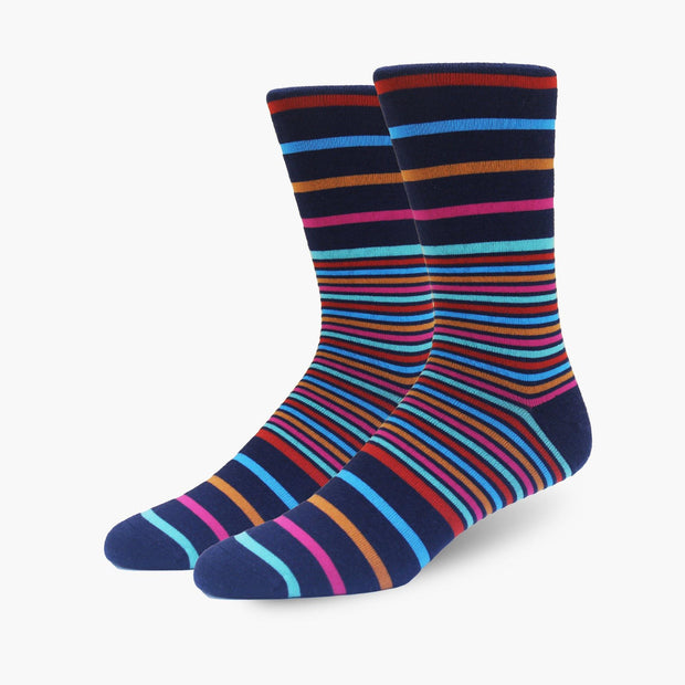 Navy Multi Stripes Merino Wool Dress Swanky Socks