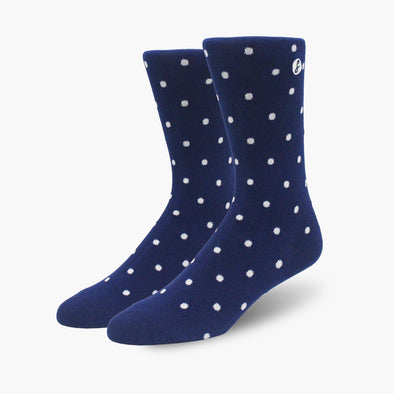 Navy Blue Polka Dot Combed Cotton Crew Length Swanky Socks - SwankySocks