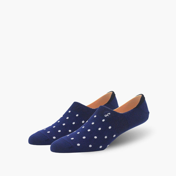 Navy Small Dot Combed Cotton No-Show Swanky Socks