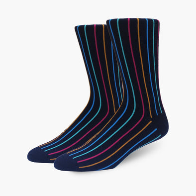 Navy Vertical Stripe Merino Wool Dress Swanky Socks