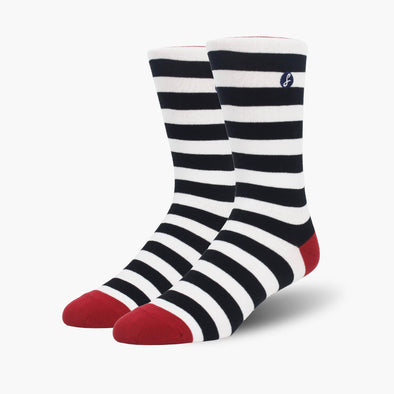 Navy/White Big Stripe Combed Cotton Crew Length Swanky Socks