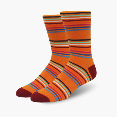 Orange Multi-Stripe Combed Cotton Crew Length Swanky Socks - SwankySocks