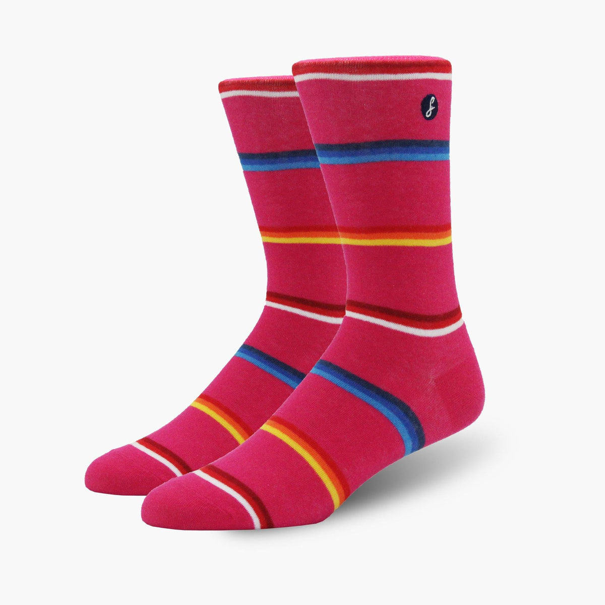 Pink Mixed Lines Combed Cotton Crew Length Swanky Socks - SwankySocks