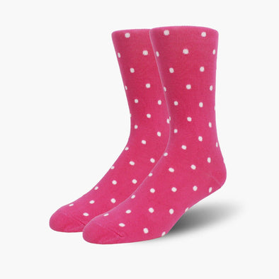 Pink Polka Dot Combed Cotton Crew Length Swanky Socks