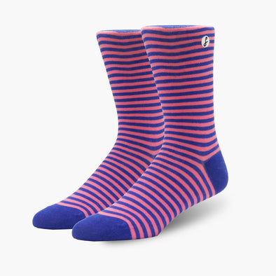 Pink/Navy Striped Combed Cotton Crew Length Swanky Socks - SwankySocks