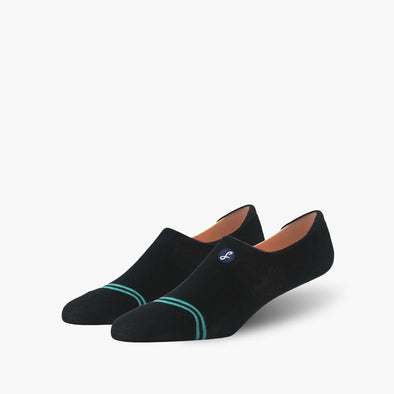 Plain Black Teal Striped Combed Cotton No-Show Swanky Socks - SwankySocks