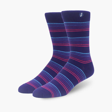 Purple Striped Bamboo Crew Length Swanky Socks