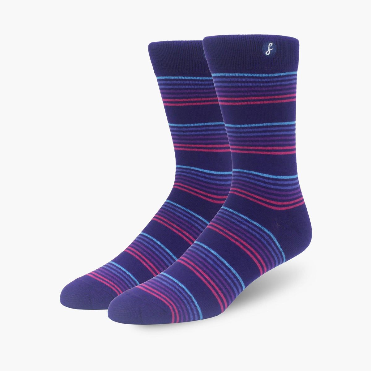 Purple Striped Bamboo Crew Length Swanky Socks - SwankySocks
