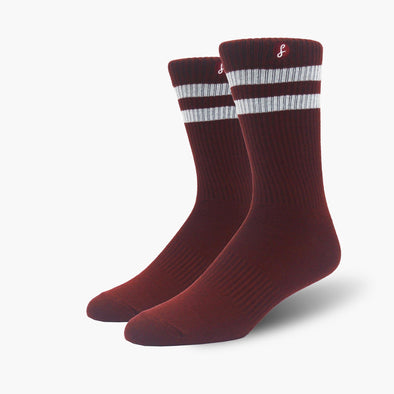 Recycled Plastic Maroon Two Stripe Gym Socks