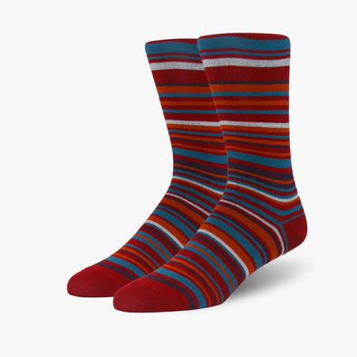 Red Oak Multi Stripe Bamboo Crew Length Swanky Socks
