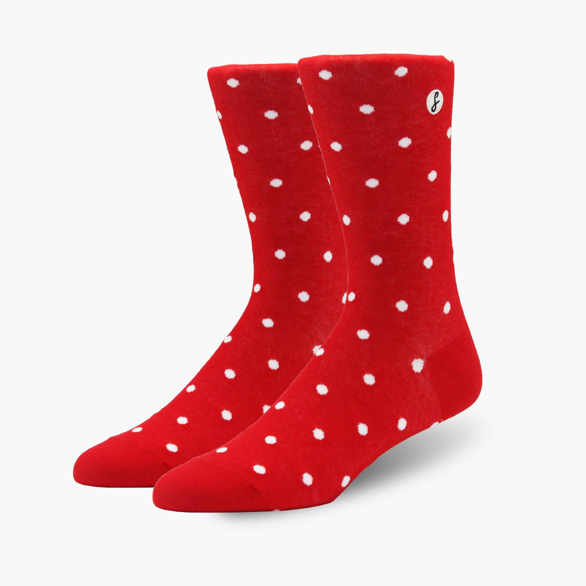 Red Polka Dot Combed Cotton Crew Length Swanky Socks - SwankySocks