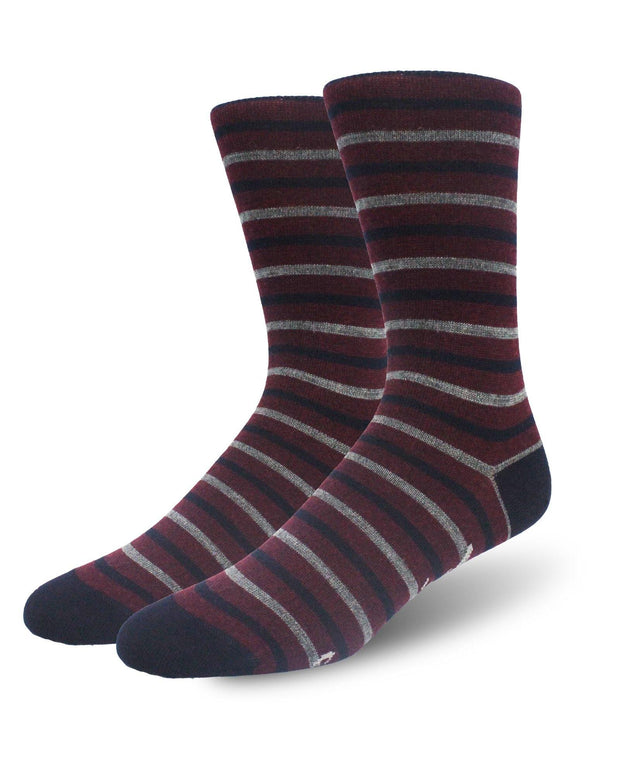 Burgundy & Navy Stripe Merino Wool Crew Length Swanky Socks