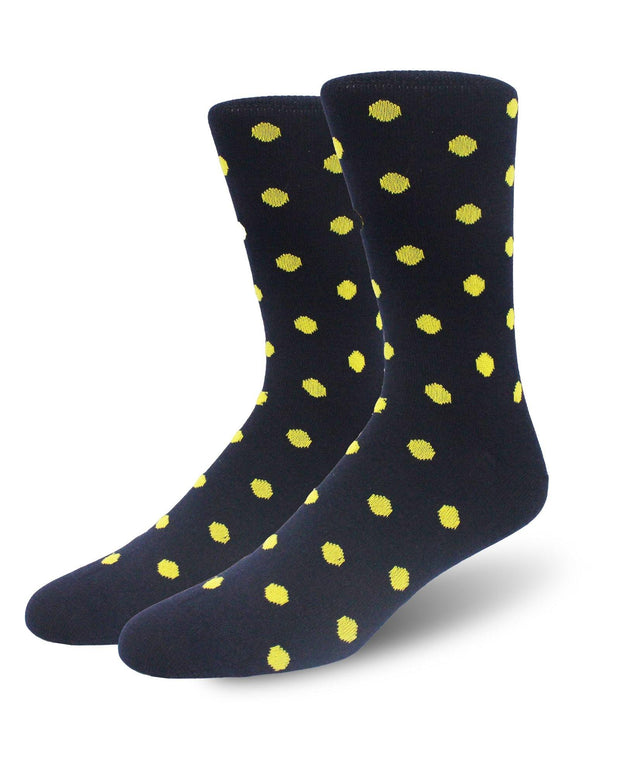 Yellow Polka Dot Crew Length Merino Wool Swanky Socks