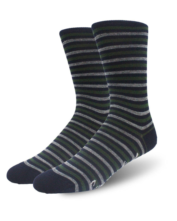 Khaki & Navy Three Stripes Crew Length Merino Wool Swanky Socks
