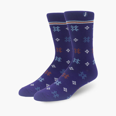 Snow Flake Inspired Purple Bamboo Crew Length Swanky Socks