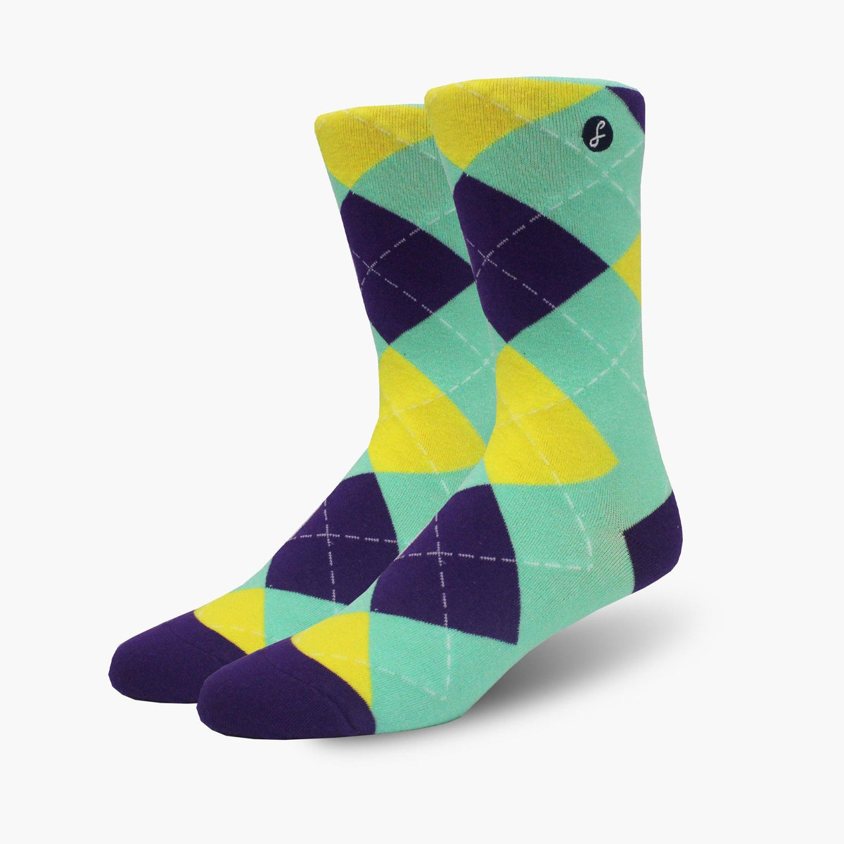 Teal Argyle Crew Length Combed Cotton Swanky Socks - SwankySocks