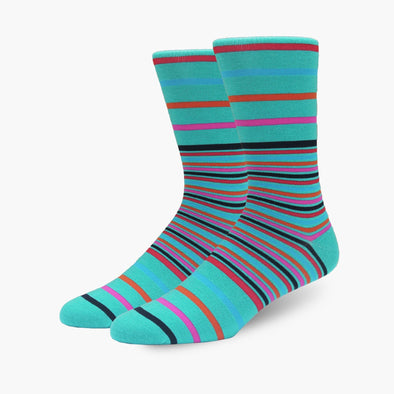 Teal Multi Stripe Merino Wool Dress Swanky Socks