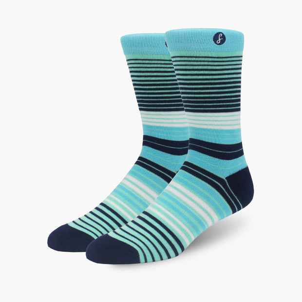 Teal Multi Striped Bamboo Crew Length Swanky Socks