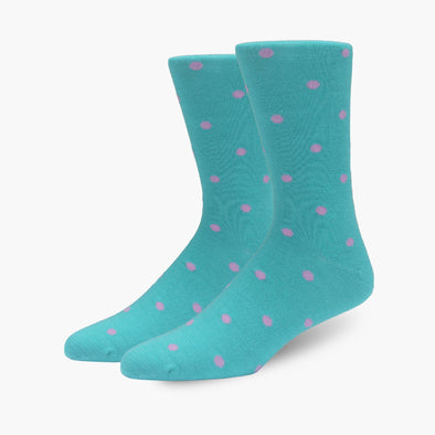 Teal & Pink Polka Dot Merino Wool Dress Swanky Socks