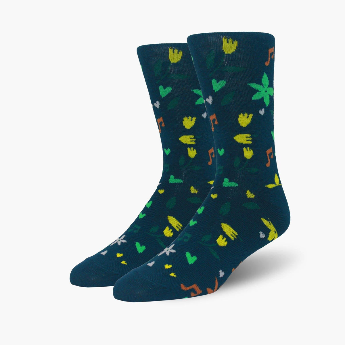 Sounds Of Spring Bamboo Crew Length Swanky Socks - SwankySocks