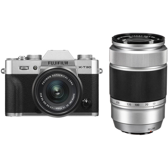 FUJIFILM X-T30 Mirrorless Digital Camera /XC15-45mm + XC55-200mm Kit (Silver)-GrandStores Saudi Arabia