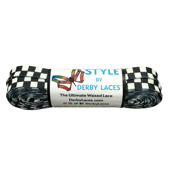 Black & White Checkered Flag Skate Laces