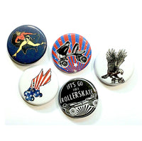 Retro Roller Skate Pinback Buttons, Set of 5
