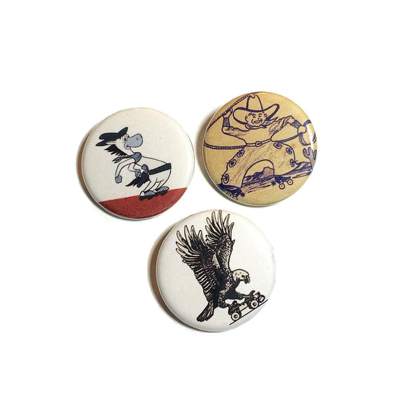 Assorted Western Roller Skating Pinback Buttons, Set of 3