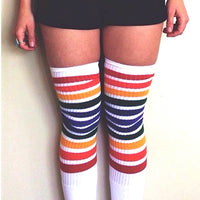 White Double Rainbow Stripe Thigh High Pride Socks
