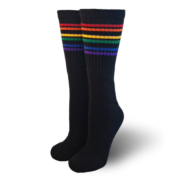 Black Rainbow Stripe Under the Knee Pride Socks