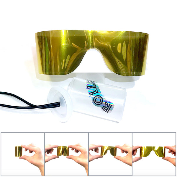 Roll-Up Sunglasses, Gold Mirror Reflective