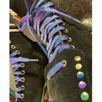 Rainbow Iridescent Black Suede Toe Caps