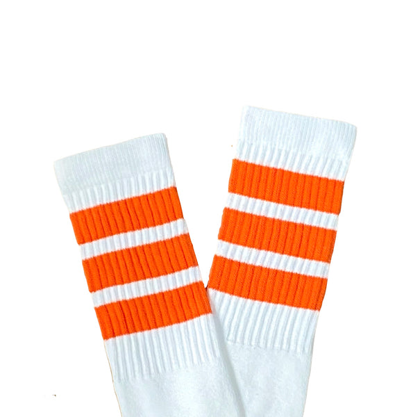 SkaterSocks White with Orange Stripes Knee High Tube Socks