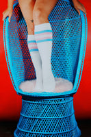 Pastel Pink & Blue Stripe Knee High Tube Socks