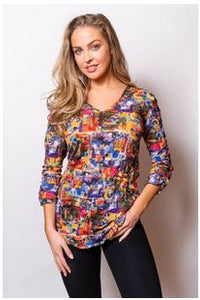 Sno Skins V Neck Crinkle Top