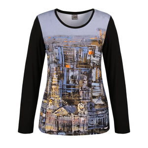 Dolcezza City Scene Top W/Solid Sleeves