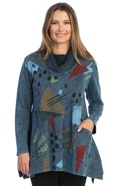 Jess and Jane Mock Neck Tunic Pop Art